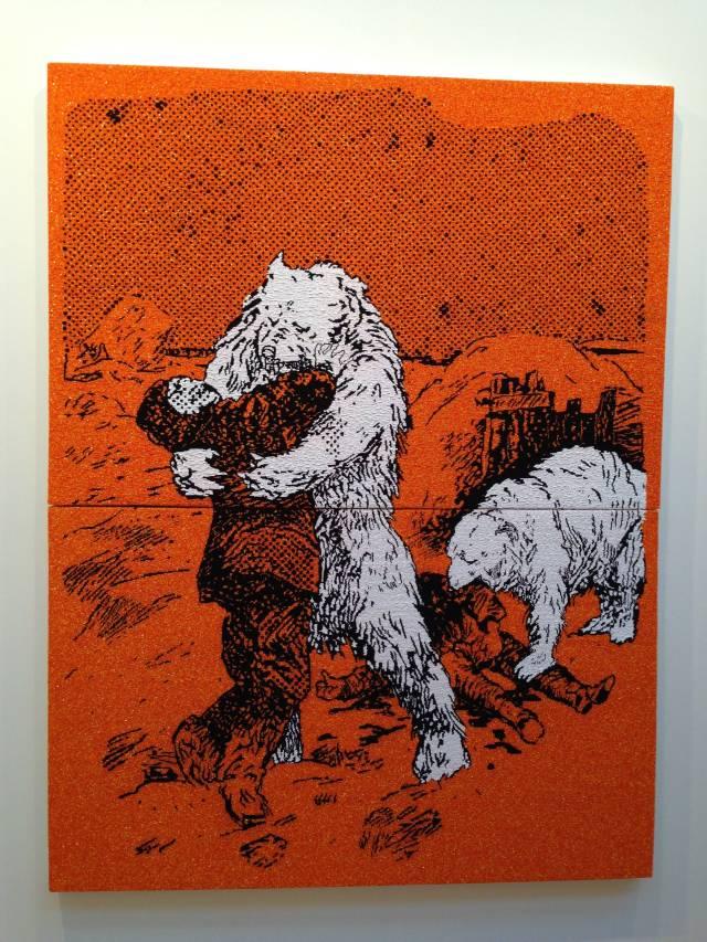 Farhad Moshiri's 'Bear Attack,' 192 x 146 cm @ Galerie Perrotin's booth